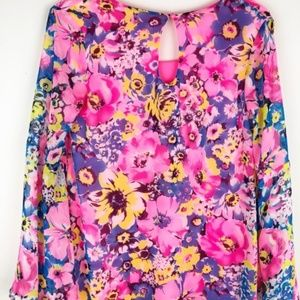 My Story Dresses - My Story sheer floral bell sleeve mini dress.